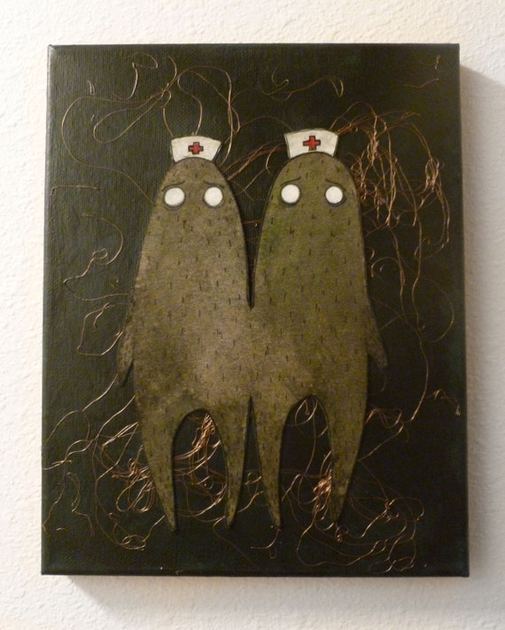 """Siamese Twins Sister Nurse Monsters Original Acrylic Painting / Collage 8"""" x 10"""" Canvas"""