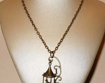 Birdcage Necklace, Vintage Style Bronze Birdcage Pendant, Decorative Birdcage Jewelry, Birdcage Pendant, Bird Jewelry, Bird Cage Necklace