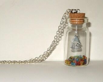 Fairy Door Bottle Necklace, Toadstool Jewelry, House in a Bottle, Fairytale Pendant, Fairy Door Necklace, Silver Toadstool, Bottle Pendant