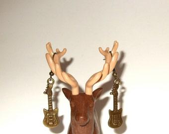Guitar Earrings, Bronze Guitar Charm, Dangle Earrings, Mini Guitar Charms, SImple Guitar Earrings, Guitarist Jewelry, Musician Earrings