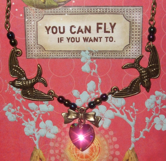 Pin-up Style, Swallow Necklace, Pink Crystal Heart, Rockabilly Jewelry, Swallow Jewelry, Tattoo Style, Pin Up Necklace, Rockabilly Style