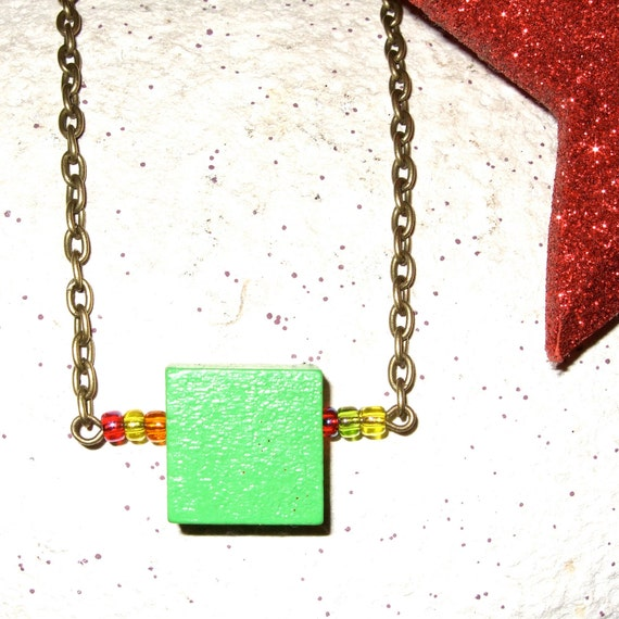 Square Necklace, Geometric Jewelry, Green Square, Wood Block Jewelry, Bright Green, Apple Green, Square Bead, Simple Necklace, Green Wood