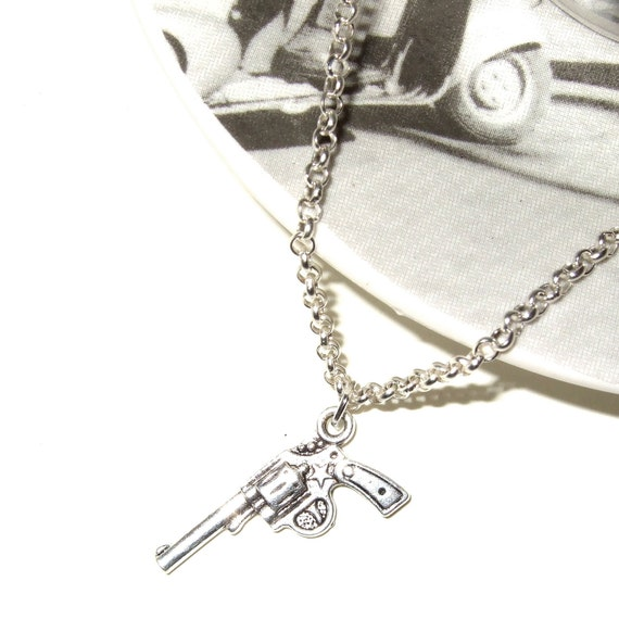Gun Necklace, Simple Gun Charm, Silver Pistol, Revolver Necklace, Gun Pendant, Gun Jewelry, Small Gun Charm, Tiny Gun Pendant, Silver Gun
