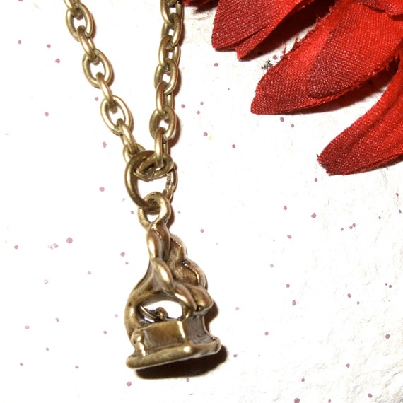 Gramophone Necklace, Old Fashioned Record Player Charm Pendant, Music Necklace, Tiny Gramophone Charm, Simple Necklace, Grampohone Jewelry