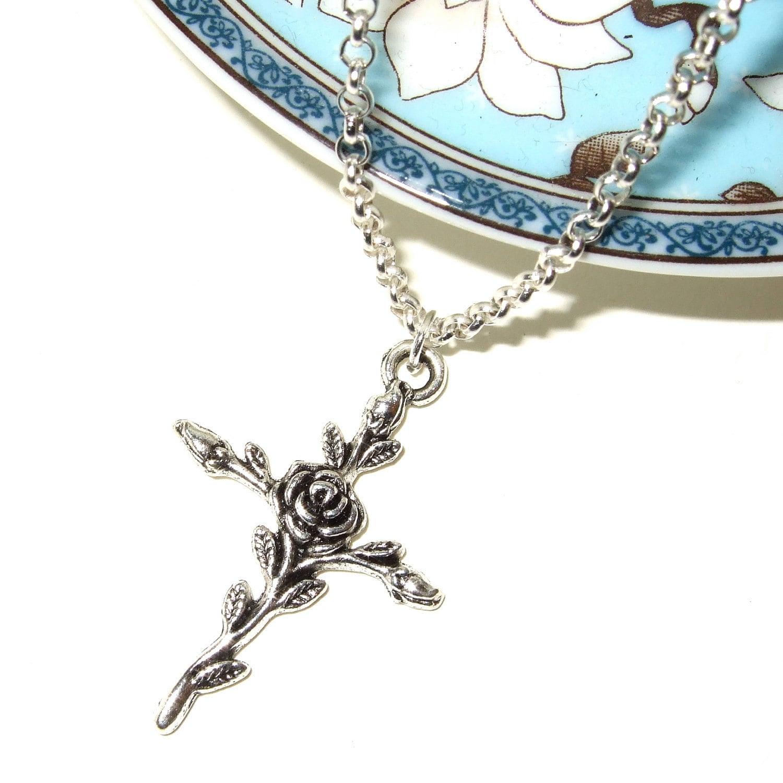Rose Cross Necklace Crucifix Pendant Silver Cross Simple
