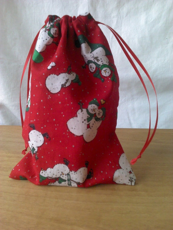 Gift Bag Snowmen and Christmas Trees Upcycled Reusable   6 X 8 1/2 Inches
