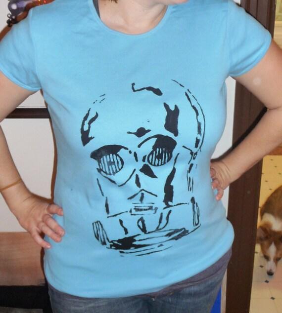 C3P0 graphic T shirt  women XL light Blue