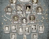 Photo Family Tree  - Custom with 17 Photos - Blue Grey Background