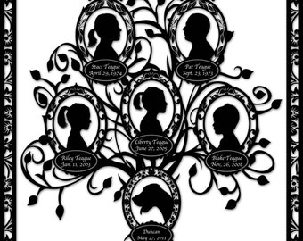 Family Tree with Dog - Custom Silhouette Design - Six Profiles