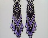 Native American Beaded Purple Black Silver Earrings Delica