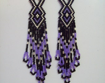 Native American Style Beaded Earrings Purple Black Silver Delica, Southwestern, Brick Stitch, Peyote, Gypsy, Hippie, Great Gift