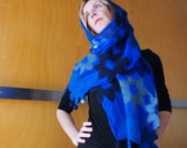 Blue evening wrap / shawl, bridal wear, evening wear, formal wear, natural designer clothing, funky women's clothing