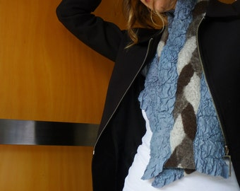Grey scarf, nuno felted, natural designer clothing, eco friendly clothing, funky women's clothing