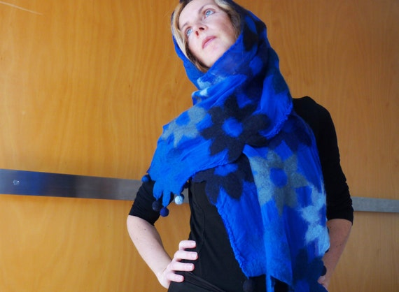 Blue evening wrap / shawl, bridal wear, evening wear, formal wear, natural designer clothing, funky women's clothing