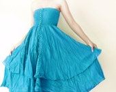 Christmas Sale 70% Off, Strapless Cotton Dress / Boho Dress / Maxi Skirt in Turquoise.