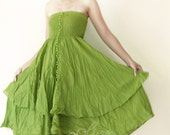 Strapless Ruffle Cotton Dress or Maxi Skirt in Green