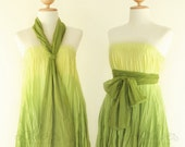 Reserved for Rachael -- Cotton Maxi Grecian Evening Dress in Lemon-Green