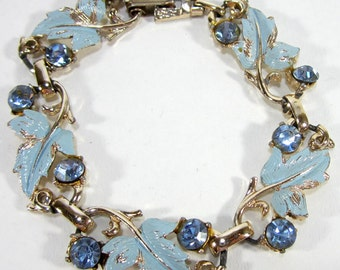 White Golden Clasp Bracelet With Crystals And LIght Blue Leaves Vintage 1980's