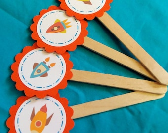 Rocket Ship Cupcake Toppers Outer Space Planets Stars