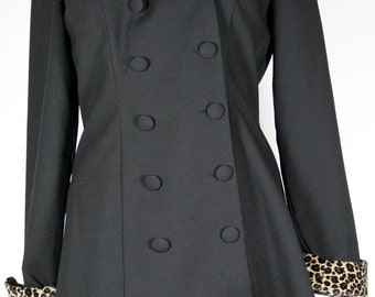 Vintage Womens Black Jacket with Leopard Print Collar and Cuffs circa early 1980s  Size 5  Reduced 33%