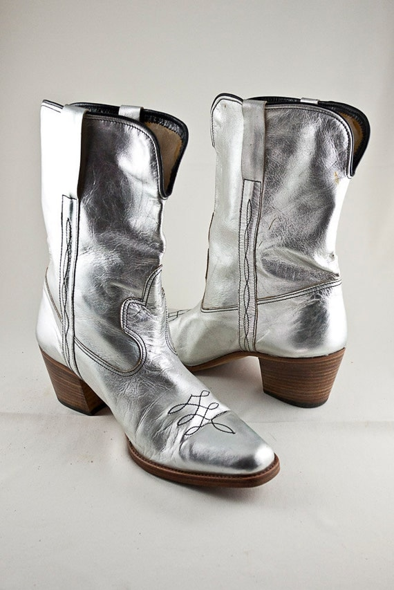 Vintage Mens Silver Cowboy Boots by Brass Boots Size 10 9