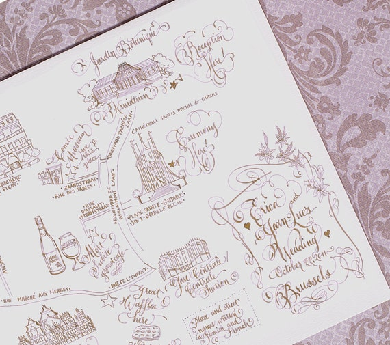 Hand Drawn Calligraphy Map. Custom Art. Hand Lettering & Hand Illustration   B r u x e l l e s