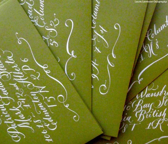 Hand Calligraphy envelope addressing. Flourished | A l b e r t a