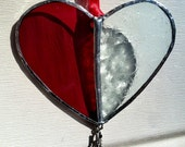 Ornament, heart, red glass, snowflake glass, love charm, stained glass, suncatcher, valentines day, heart, gift
