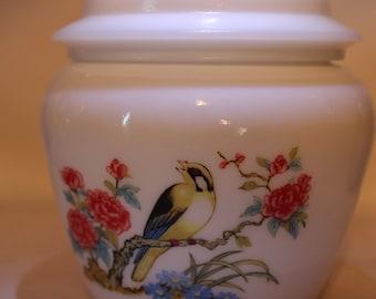 Avon Goldfinch Milk Glass Jar With Lid