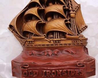 Vintage Old Ironsides Ship Bookend / Doorstop