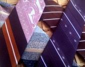 Vintage Clip-on Neckties, Lot of 4 Men's Ties, Diagonal Stripe Ties