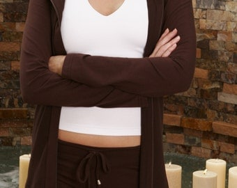 Yoga Jacket / Long Stretch Jacket / Ladies HOODIE / Womens JACKET / Yoga Wear / 2 way zip / FREE Usa Ship / Brown Jacket / Brown Hoodie