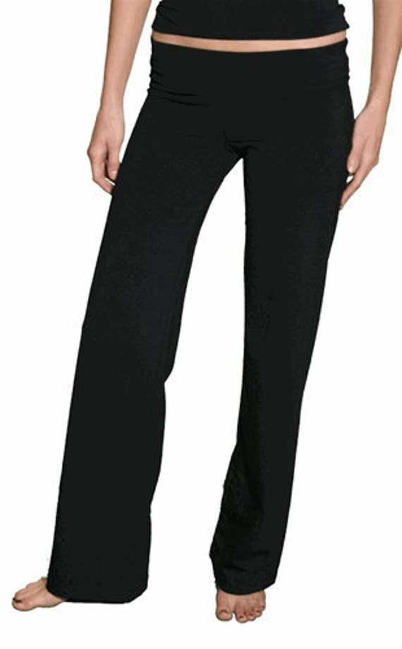 Soft STRETCH YOGA Pull On Pants 79.00 FREE Usa Shipping  loose leg  In Black, Choc Brown, Poinsettia Red, Teal, Khaki, and more