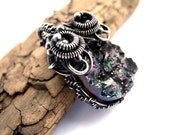 Wire wrapped silver necklace, Quartz druzy, raw sone, galaxy universe stardust, aurora borealis rainbow romantic and luxury
