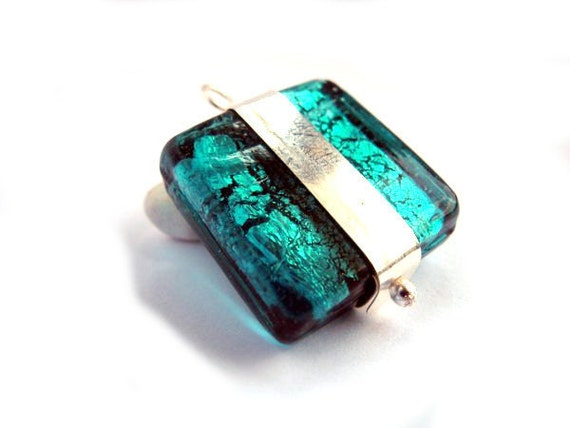 Geometric Silver Charm Necklace - Murano Glass Emerald - Square Teal Necklace - Jade Simple Necklace