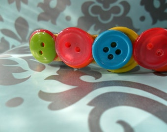 Buttons Colorful French Clip Berrette Large