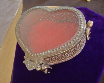 Vintage Jewelry Heart Shaped Box with Cherubs Valentines Day Romantic Gift