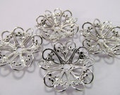 6 Vintage 22mm Silverplated Lacy Filigree Flower Beads Mt57