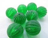 12 Vintage Lucite 16mm Matte Emerald Round Melon Beads Bd906