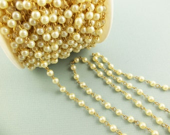 3 Ft Vintage Gold-Plated Brass 6mm Pearl Chain Ch01