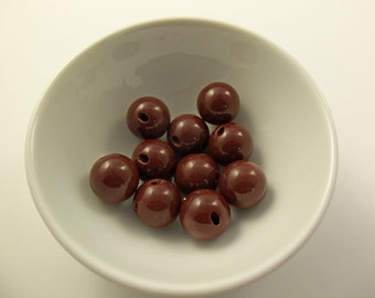 16 Vintage Chocolate Side-Drilled Lucite Button Beads Luc209