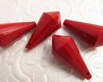 8 Vintage 26mm Red Deco Lucite Drops Pd119