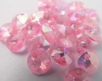 80 Vintage 8mm Round Faceted AB Pink Plastic Charms Pd134