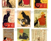 Vintage Fine Art Collage Sheet 24 - Theophile Steinlen Famous Cats- JPG Download