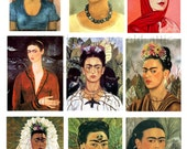 Vintage Fine Art Collage Sheet 28 - Frida Kahlo Portraits  - JPG Download