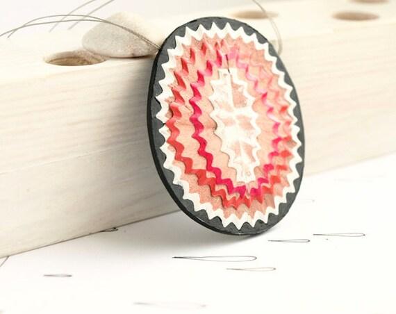pencil shreds. oval pendant. native patterns. geometric jewelry. boho chic. red white black