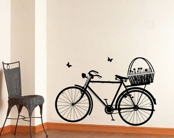 Bicycle Wall Decal - Bicycle with Flower Basket and Butterflies Vinyl Wall Decal 22129