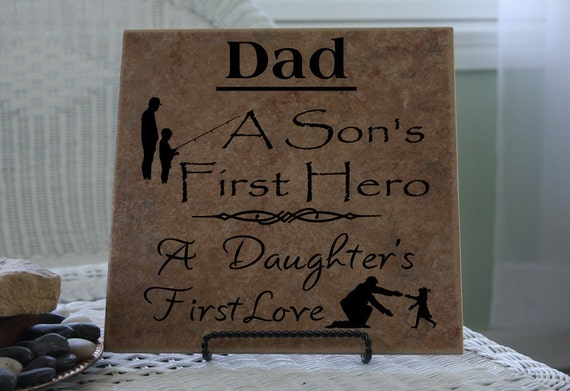 Dad a Sons First Hero and Daughters First Love, Vinyl Decal, Vinyl Lettering, Tile Decal, Sign Decal, Fathers Day Gift, Gift For Dad  22008