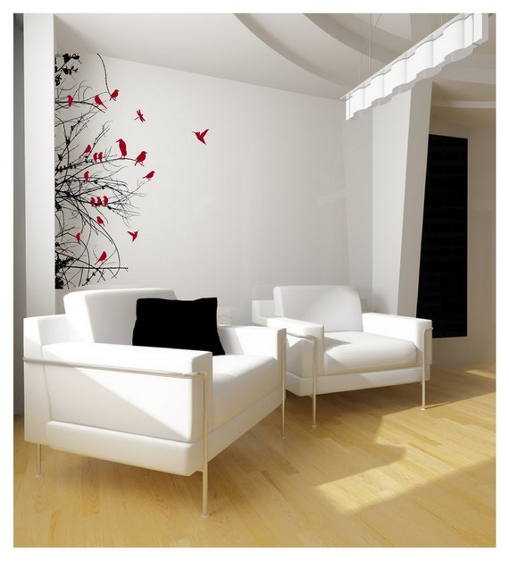 Winter Tree Branches Decal - Bare Tree Branches with Birds Left Sided Vinyl Wall Decal 22111