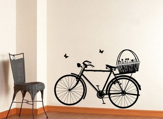 Bicycle Wall Decal, Vinyl Wall Decal, Spring Wall Decor, Kids Room Decor, Flower Basket Decal, Butterflies Decal,  22129